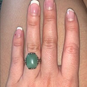 Silver ring with turquoise stone. Size 8